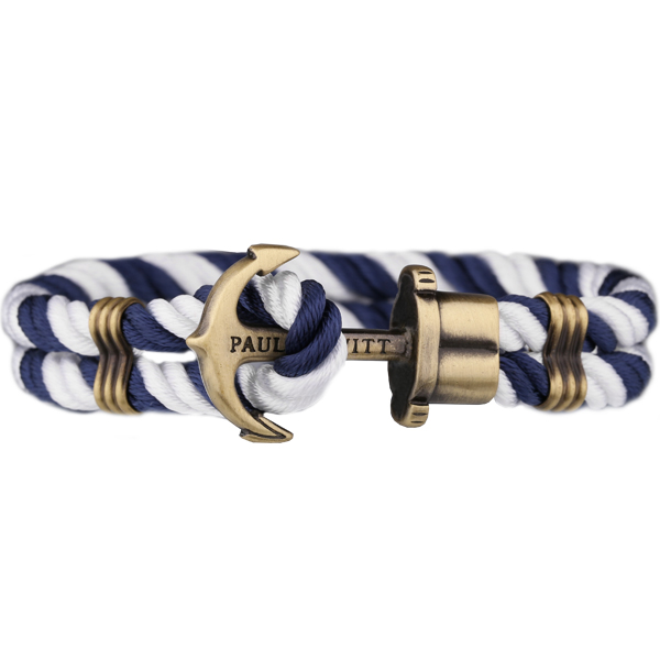 paul hewitt brass anchor nylon bracelet blue white