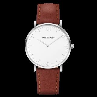 Uhr-Sailor-Line-White-Sand-Edelstahl-Lederarmband-Braun