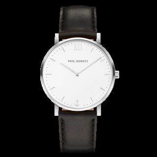 Uhr-Sailor-Line-White-Sand-Edelstahl-Lederarmband-Schwarz
