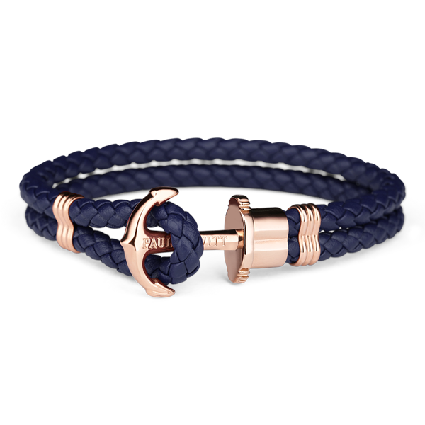 Paul Hewitt Rose Gold Anchor Leather Bracelet Navy Blue